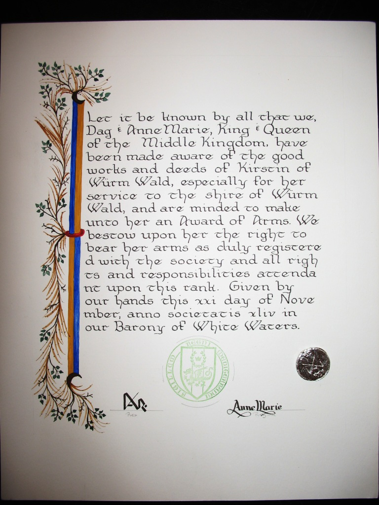 Sample award scroll, illuminated by Lady Anna